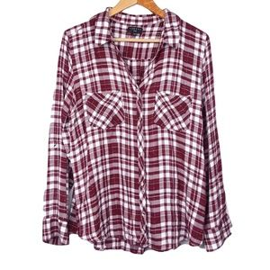 Tinsel Maroon Plaid Flannel Button Down Blouse
